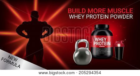 Protein cocktail ads. Vector realistic illustration of cans and shake with whey protein powder. Horizontal banner with product and sports equipment.