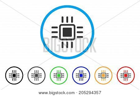 Processor rounded icon. Style is a flat processor gray symbol inside light blue circle with black, gray, green, blue, red, orange variants. Vector designed for web and software interfaces.