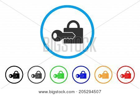 Registration Key rounded icon. Style is a flat registration key gray symbol inside light blue circle with black, gray, green, blue, red, orange color versions.
