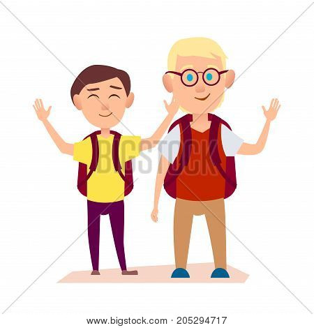 Joyful friends with ruddy packsack waving their hands on white background. Free time for two boys after school vector illustration.