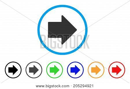 Arrow Right rounded icon. Style is a flat arrow right grey symbol inside light blue circle with black, gray, green, blue, red, orange variants. Vector designed for web and software interfaces.