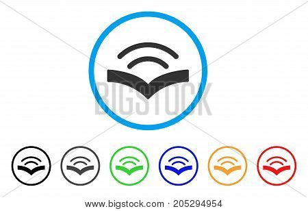 Audiobook rounded icon. Style is a flat audiobook grey symbol inside light blue circle with black, gray, green, blue, red, orange versions. Vector designed for web and software interfaces.