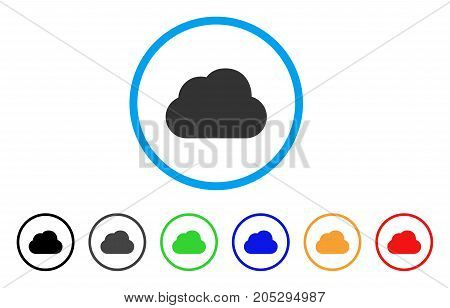 Cloud rounded icon. Style is a flat cloud grey symbol inside light blue circle with black, gray, green, blue, red, orange variants. Vector designed for web and software interfaces.
