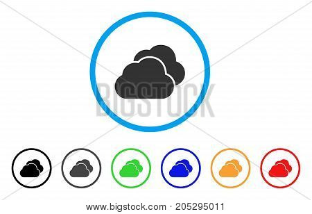 Clouds rounded icon. Style is a flat clouds gray symbol inside light blue circle with black, gray, green, blue, red, orange variants. Vector designed for web and software interfaces.