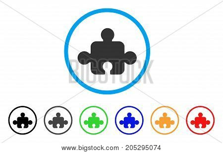 Component rounded icon. Style is a flat component grey symbol inside light blue circle with black, gray, green, blue, red, orange variants. Vector designed for web and software interfaces.
