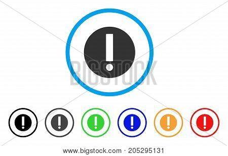 Exclamation rounded icon. Style is a flat exclamation grey symbol inside light blue circle with black, gray, green, blue, red, orange variants. Vector designed for web and software interfaces.