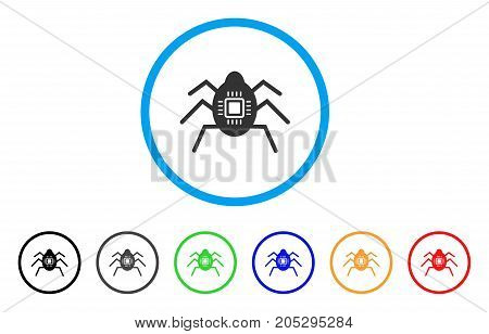 Hardware Bug rounded icon. Style is a flat hardware bug grey symbol inside light blue circle with black, gray, green, blue, red, orange color versions. Vector designed for web and software interfaces.