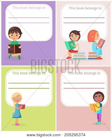 This book belong to with reading schoolchildren, four color templates for signature of literature vector illustration flat design.
