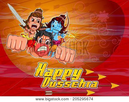 Lord Rama and Laxmana flying on Hanuman in Happy Dussehra Navratri celebration India holiday background. Vector illustration