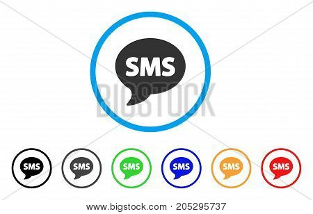 SMS rounded icon. Style is a flat sms grey symbol inside light blue circle with black, gray, green, blue, red, orange versions. Vector designed for web and software interfaces.
