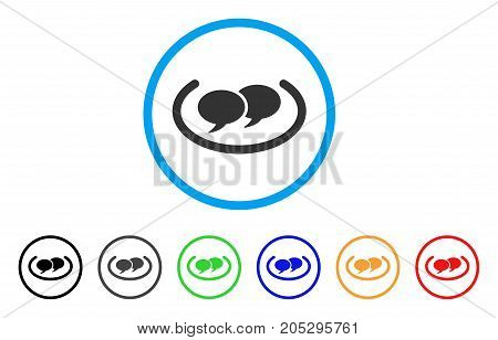 Social Networks rounded icon. Style is a flat social networks gray symbol inside light blue circle with black, gray, green, blue, red, orange color versions.