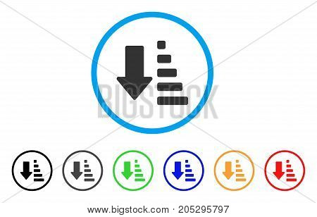 Sort Down Arrow rounded icon. Style is a flat sort down arrow grey symbol inside light blue circle with black, gray, green, blue, red, orange versions. Vector designed for web and software interfaces.