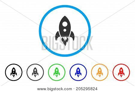 Startup Rocket rounded icon. Style is a flat startup rocket gray symbol inside light blue circle with black, gray, green, blue, red, orange versions. Vector designed for web and software interfaces.