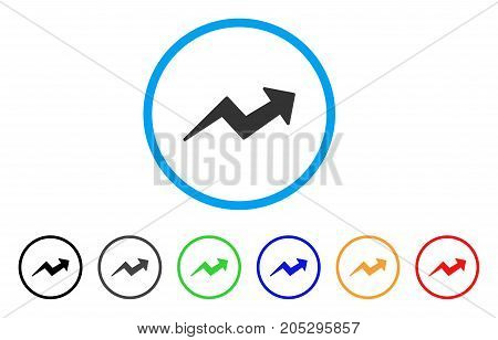 Trend Up Arrow rounded icon. Style is a flat trend up arrow gray symbol inside light blue circle with black, gray, green, blue, red, orange color versions.