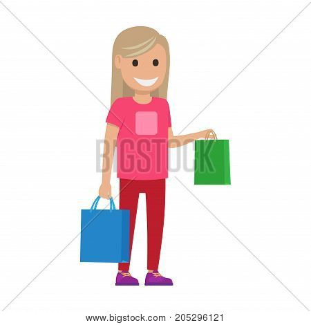 Girl stands and holds bags on white background. Family shopping day. Cartoon girl has fun during shopping at supermarket. Shopping-themed isolated vector illustration of female character with bags.