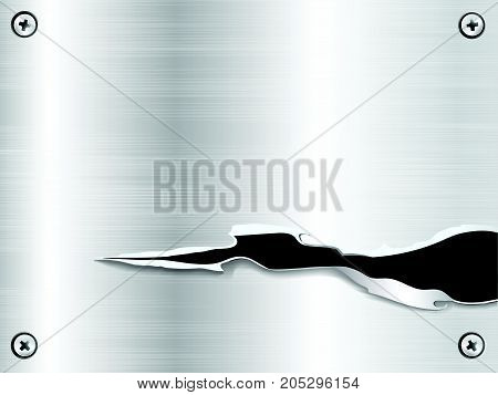 Cut a hole Metal plate background steel nameplate with screws vector illustration.