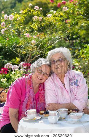 Two Female Senior Friends Sitting In Garden