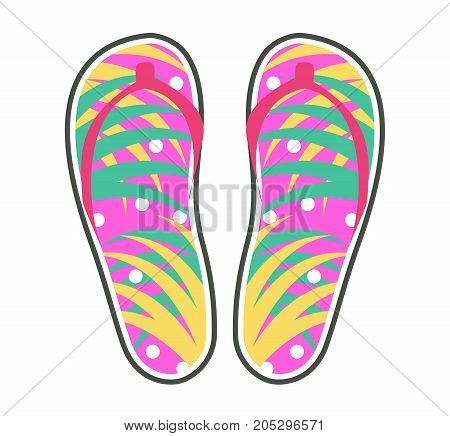 Pair of colorful flip-flops icon. Pink thong sandals with palm leaves ornament flat vector isolated on white. Popular unisex summer footwear illustration for shoes shop ad or casual wear concepts
