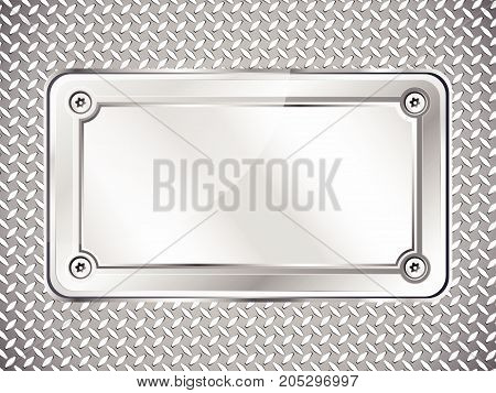 Metal texture abstract background steel nameplate with screws vector illustration.
