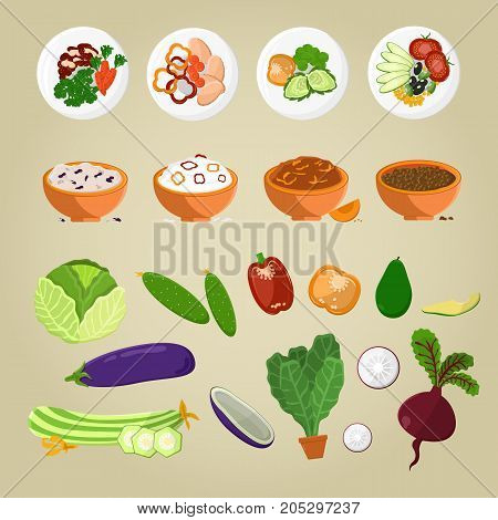 Vegetarian food and cutting vegetables on plates vector illustration. Green cabbage, cucumber, avocado, purple eggplant and radish, lettuce in pot.
