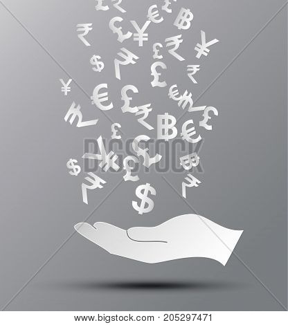 Vector illustration concept of money.paper cut style.