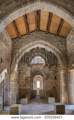 Alcuescar Spain - September 17 2017: Visigothic Basilica of Santa Lucia del Trampal. Main nave view