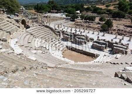 The Odeon Bouleuterion in Ephesus ancient city Selcuk Turkey.