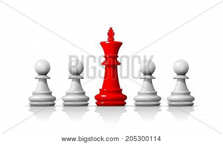 Leader in the chess game, business team on the white background . Vector illustration