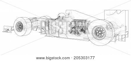 Formula 1. Abstract drawing. Wire-frame. EPS10 format. Vector created of 3d