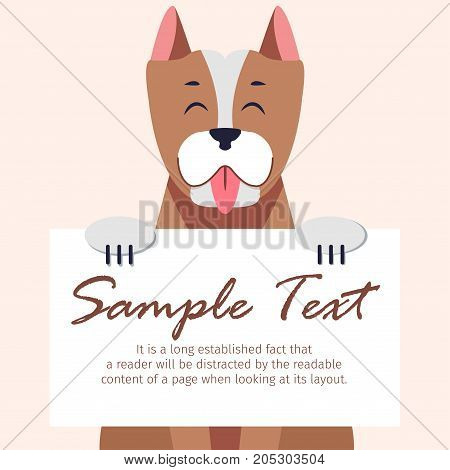 Cute Pitbull with closed eyes and hanging tongue holds signboard with text isolated on grey background. Frisky dog breed vector illustration. Cartoon domestic animal with energetic character.