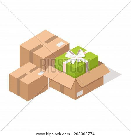 Delivered cardboard post boxes with presents from online shop isolated on white background. E commerce advertising vector illustration. Fast and safe delivery of purchases from Internet store.