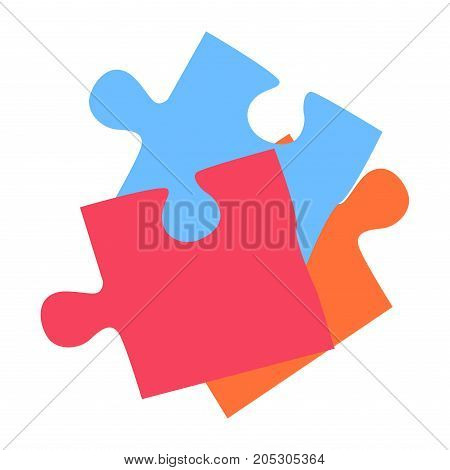 Colorful puzzle elements isolated on white background vector illustration. Jigsaw pieces connected together, creation startup team concept