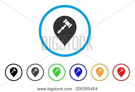 Auction Hammer Marker rounded icon. Style is a flat auction hammer marker grey symbol inside light blue circle with black, gray, green, blue, red, orange color versions.