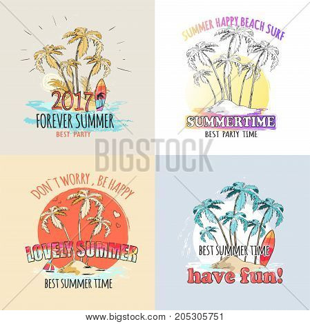 Have fun at lovely forever summer party 2017. Advertising poster with small island with high tropical palms, blue water, colorful surfboards and small sail vector illustration. Don't worry, be happy.
