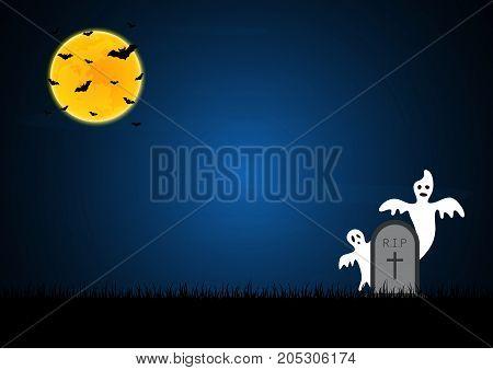 Halloween White Ghost Gravestone Moon Bat Graveyard