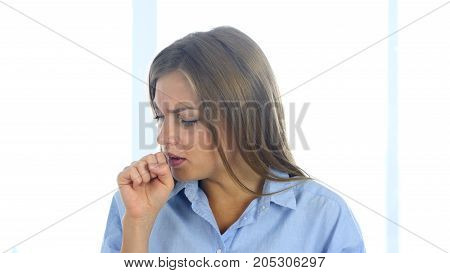 Portrait Of Ill Woman Coughing, Throat Infection