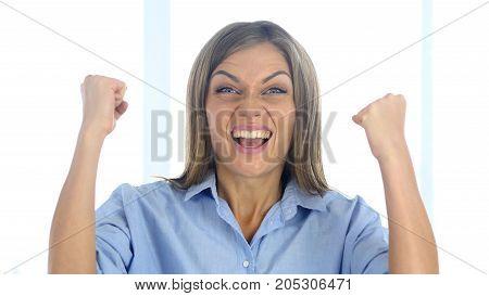 Portrait of Beautiful Young Woman Celebrating Success