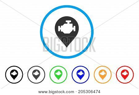Engine Marker rounded icon. Style is a flat engine marker grey symbol inside light blue circle with black, gray, green, blue, red, orange color versions.