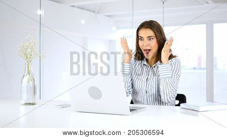 Amazed Young Woman Reacting To Successful Results, Excitement
