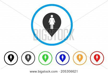 Female Toilet Marker rounded icon. Style is a flat female toilet marker grey symbol inside light blue circle with black, gray, green, blue, red, orange variants.