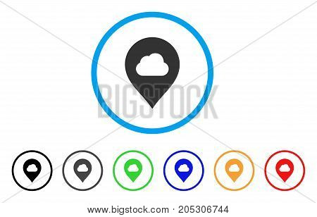 Fog Cloud Marker rounded icon. Style is a flat fog cloud marker grey symbol inside light blue circle with black, gray, green, blue, red, orange versions.