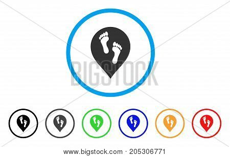 Footprints Map Marker rounded icon. Style is a flat footprints map marker grey symbol inside light blue circle with black, gray, green, blue, red, orange color versions.