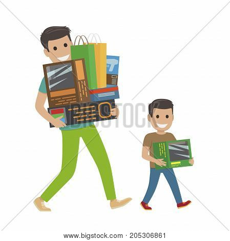 Father and son doing shopping hold purchases. Vector shopping concept of paying and getting goods on white. Smiling man and boy return home carrying packages and boxes with items and products
