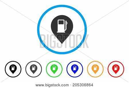 Fuel Station Marker rounded icon. Style is a flat fuel station marker gray symbol inside light blue circle with black, gray, green, blue, red, orange versions.