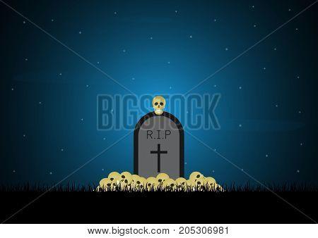 Halloween Gravestone Graveyard Skull Background