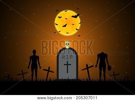 Halloween Gravestone Graveyard Skull Zombie Bat Moon Background