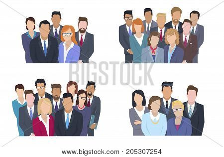 Business team vector concepts set. People in strict clothing standing together and looking on viewer isolated flat illustration. Faceless men and women characters on working collective group portrait