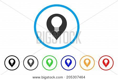 Lamp Bulb Marker rounded icon. Style is a flat lamp bulb marker gray symbol inside light blue circle with black, gray, green, blue, red, orange color versions.