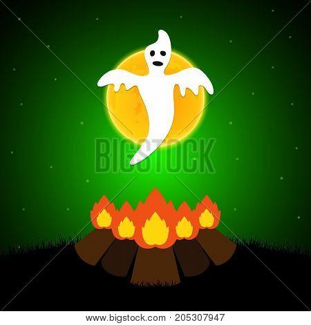 Halloween Bornfire Graveyard Ghost Moon Background