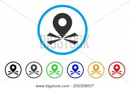 Marker Position rounded icon. Style is a flat marker position gray symbol inside light blue circle with black, gray, green, blue, red, orange variants. Vector designed for web and software interfaces.
